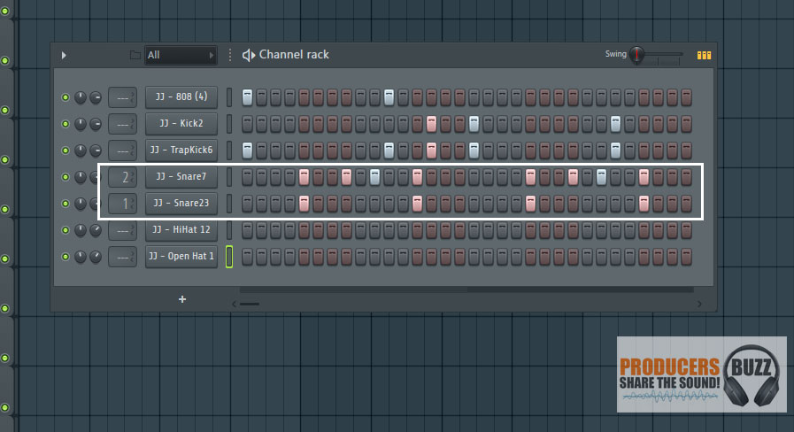 Adding the snares - Making a FL Studio 808 Trap Hip Hop Drum Loop