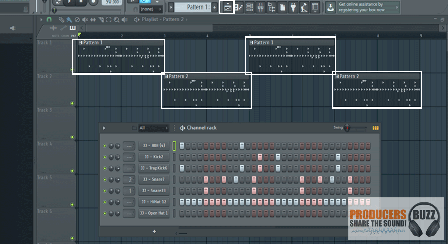 On playlist input pattern 1 and pattern 2 as shown to have different drum loop playing on each new bar