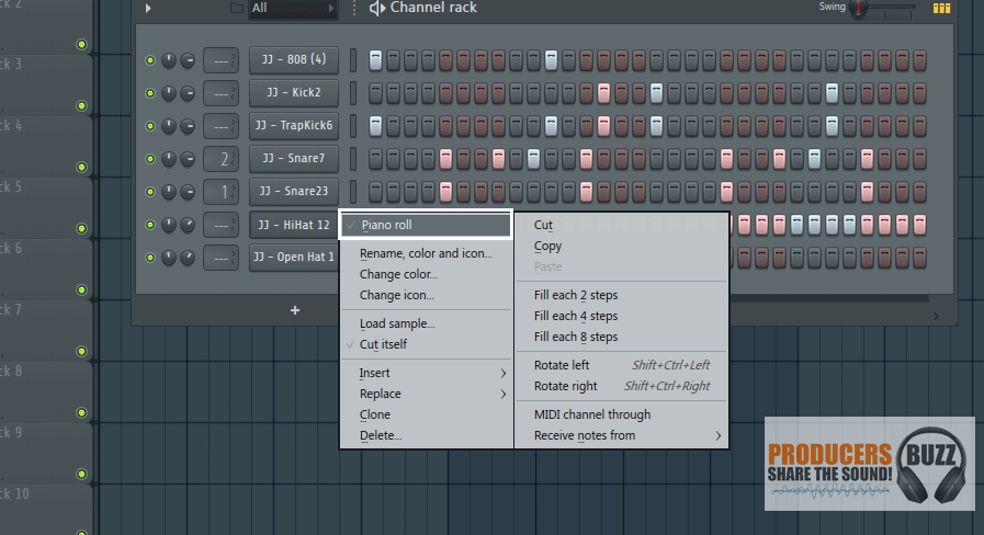 "Now right click on the ""JJ - Hi Hat 12"" and click on ""Piano Roll"" as shown below."