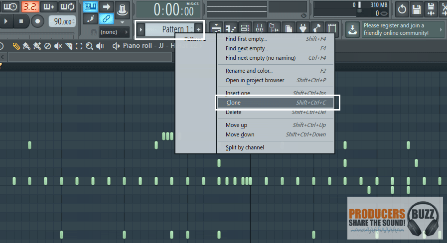 clone the pattern to a new pattern 2 in fl studio.