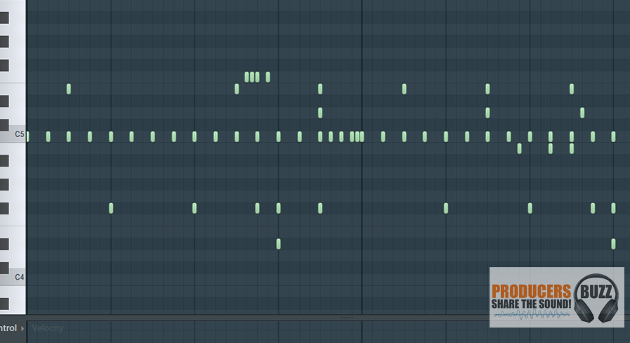 Hi Hat layout from piano roll editor, this is the hi hat layout for a nice trap / 808 hip hop drum loop