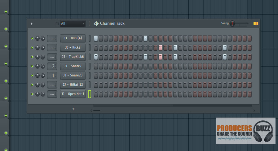 Layout the kicks as shown in this fl studio screenshot