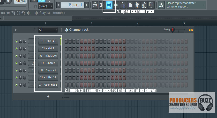 Import files into the channel rack - Making a FL Studio 808 Trap/Hip Hop Drum Loop