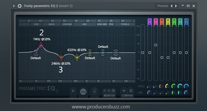 Add parametric 2 EQ to your 808 sub or 808 bass