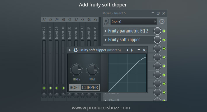 add fruity soft clipper to channel effect