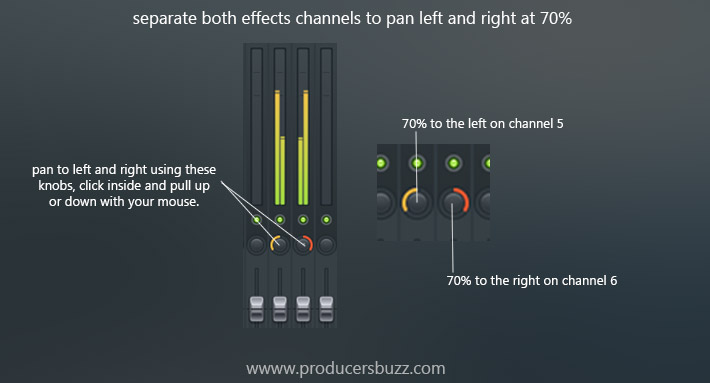 separate both effects channels to pan left and right at 70%