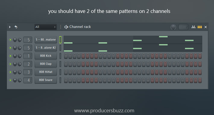 you should have 2 of the same patterns on 2 channels