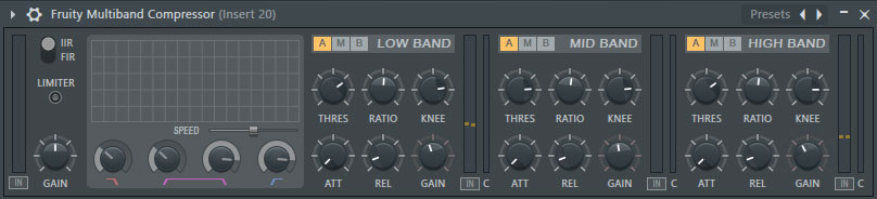 Fruity Multiband Compressor Settings