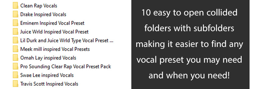 10 vocal presets in 1 pack