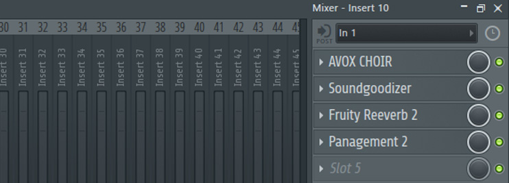 stack up your vocal effects in channel mixer in fl